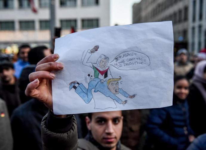 Manifestazione palestinese contro Trump