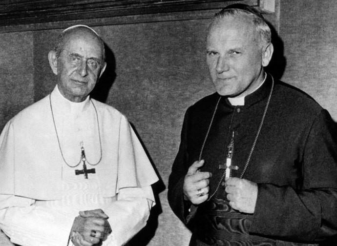 Paolo VI con l'allora vescovo Wojtyla