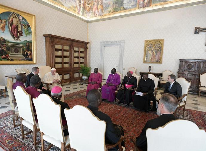 Papa Francesco con la delegazione delle Chiese del Sud Sudan