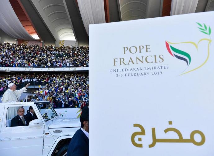Papa Francesco nello stadio dove ha celebrato la messa