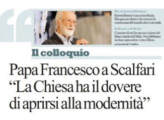 """Il Papa a Scalfari: """"La grazia può toccare anche lei"""""""