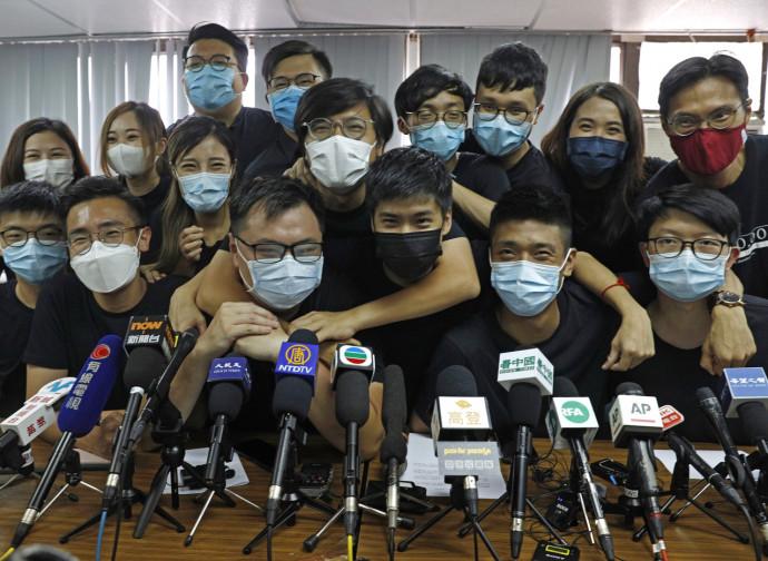Conferenza stampa degli eletti alle primarie di Hong Kong