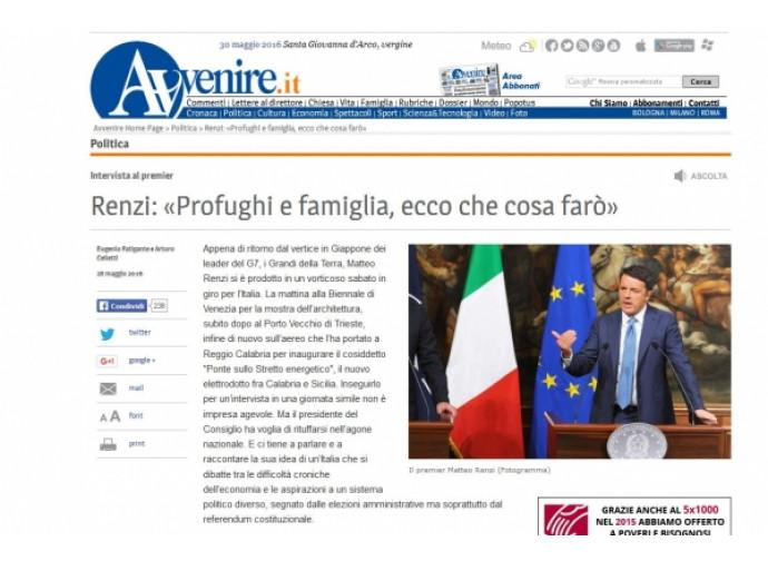 Matteo Renzi intervistato da Avvenire