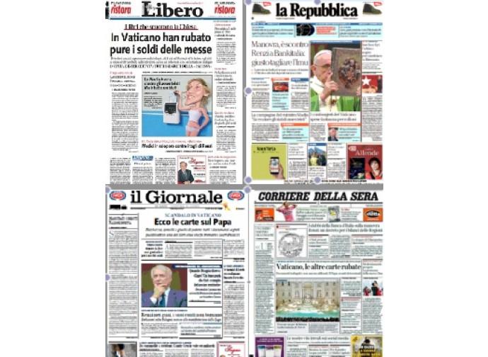 Le prime pagine di Libero, Repubblica, Giornale e Corriere
