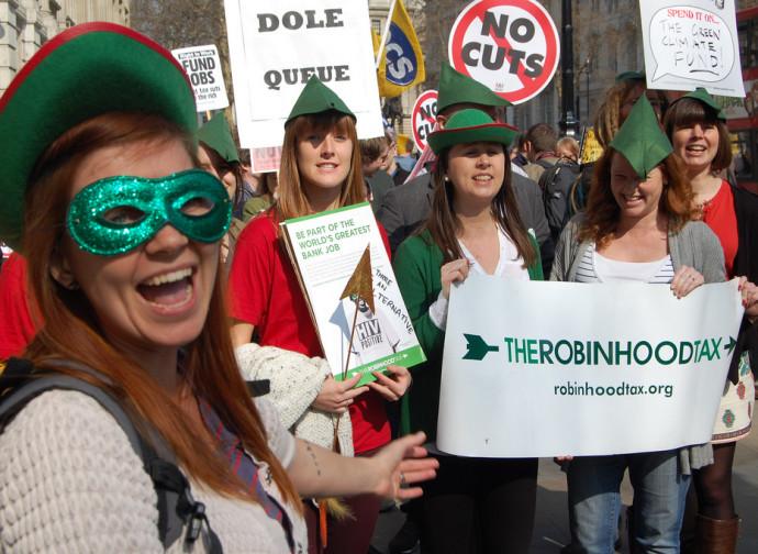 Manifestazione per la Robin Hood Tax (tassa sulle transazioni finanziarie)