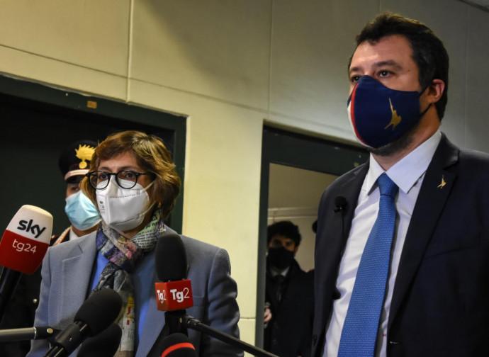 Matteo Salvini in udienza preliminare a Palermo