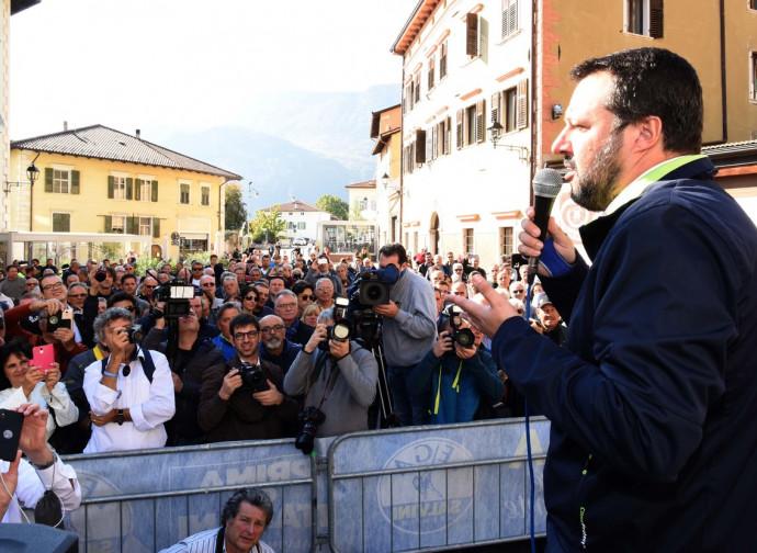 Matteo Salvini, comizio a Mezzocorona, Trentino