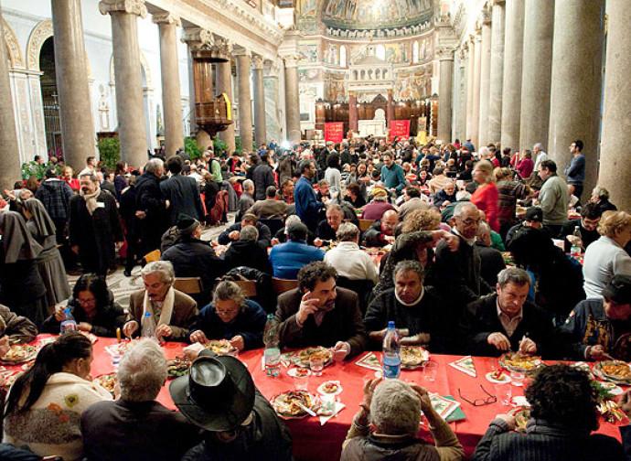 Pranzo di Natale a Roma nella chiesa di Santa Maria in Trastevere