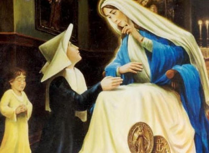 Caterina Labouré con la Madonna