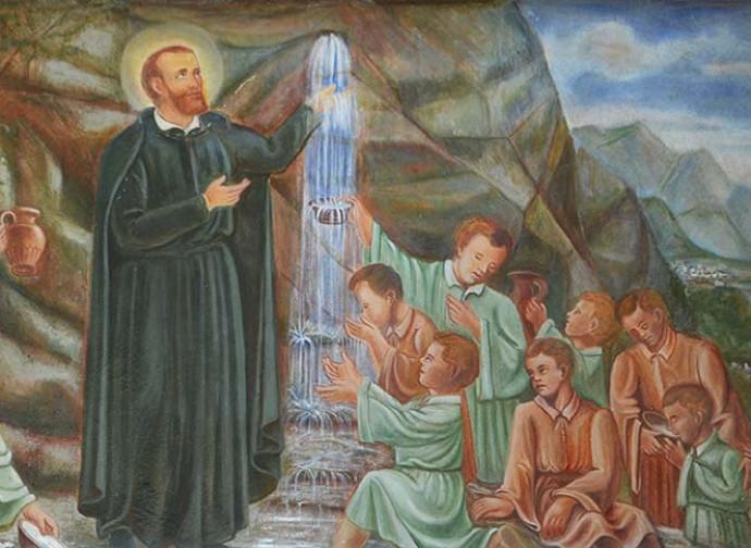 San Gerolamo, affresco sopra la fonte del santuario a lui dedicato