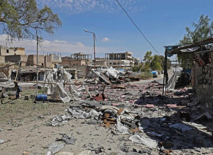 L'esito degli attacchi in un villaggio della provincia di Idlib