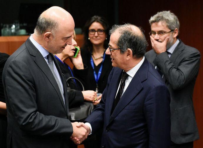 Il ministro Tria all'Eurogruppo a colloquio con il Commissario UE Moscovici