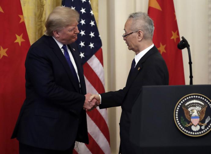 Il presidente Usa Donald Trump e il vicepremier cinese Liu He