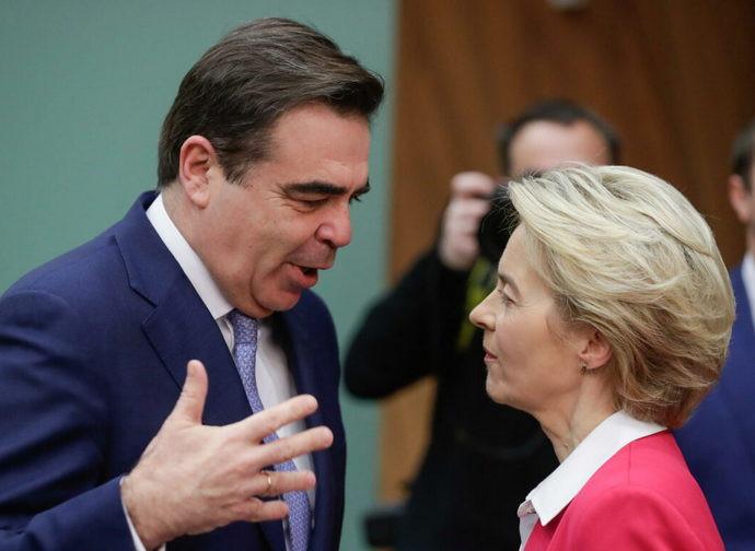 Presidente e vice presidente della Commissione Europea, von der Leyen e Schinas