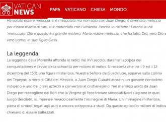 "E per Vatican News la Vergine di Guadalupe è una ""leggenda"""