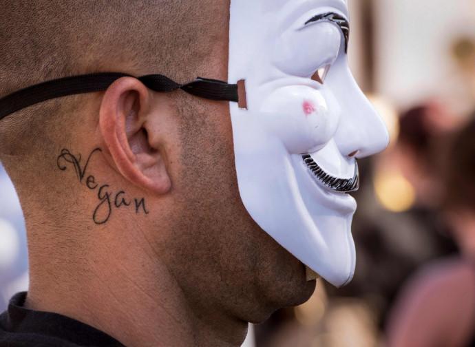 Manifestante vegano