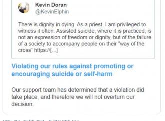Vescovo contro l'eutanasia. Twitter lo censura