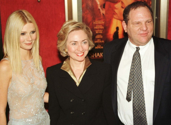 Harvey Weinstein con Gwyneth Paltrow e Hillary Clinton, in tempi non sospetti