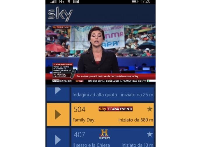 La diretta su Sky del Family Day con telecamera fissa